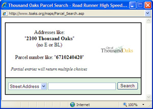 Parcel search address window